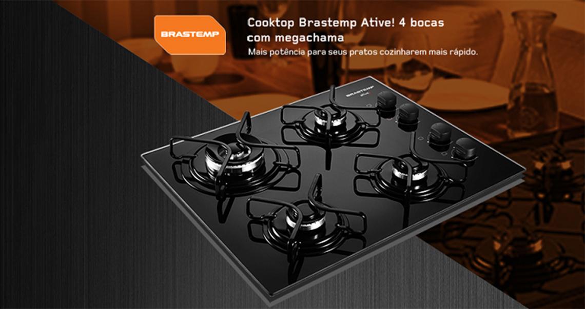e98622c79 O Cooktop a Gás Brastemp Ative! de 4 bocas possui design moderno e  funcional. Com mesa de vidro temperado