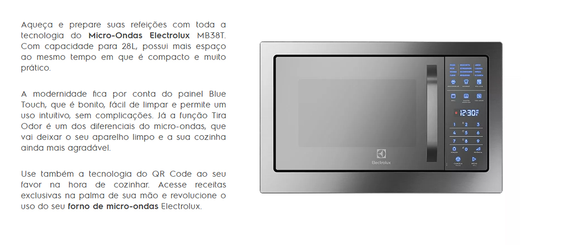 63bd2bc90 Micro-ondas Electrolux de Embutir MB38T 28 Litros Grill Inox 220V ...